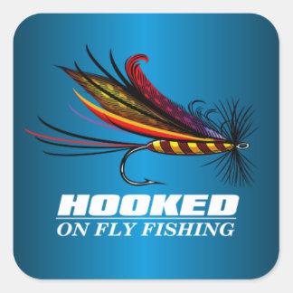 Enganchado en la pesca con mosca pegatina cuadrada