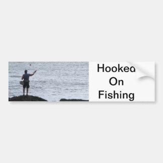 Enganchado en la pesca pegatina para auto