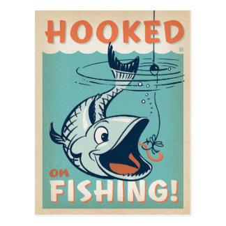Enganchado en la pesca tarjeta postal