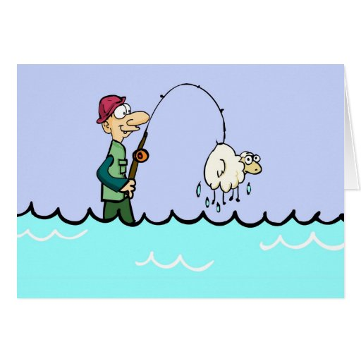 Enganchado en oveja tarjeta de felicitación