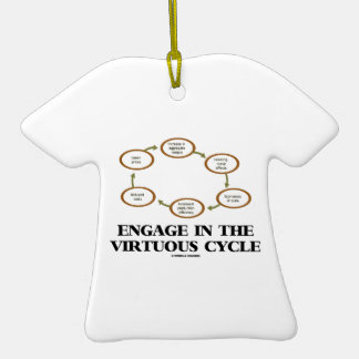 Enganche al ciclo virtuoso (la macroeconomía) adorno de cerámica en forma de camiseta