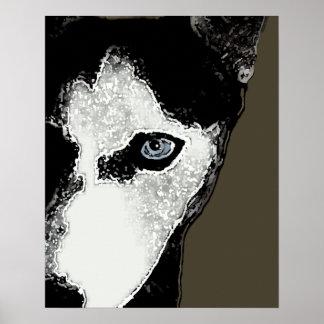 Enganche el perro esquimal póster