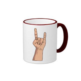 Engánchelos gesto de la muestra de la mano taza de dos colores