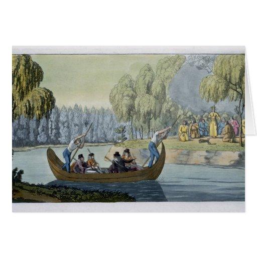 Engaño de capitán Wallis de la reina Oberea, placa Tarjeta De Felicitación