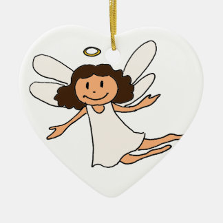 Engel Double-Sided Heart Ceramic Christmas Ornament