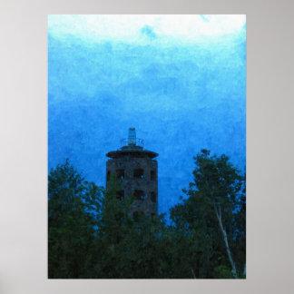 Enger Tower Dark Sky Above-Painting Print