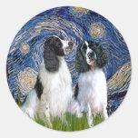 Engilsh Springer Pair - Starry Night Round Sticker