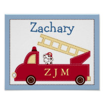 Engine 27 Fire Truck Nursery Wall Art Name Print
