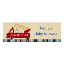 Engine 27 Fire Truck Puppy Baby Shower Banner Sign