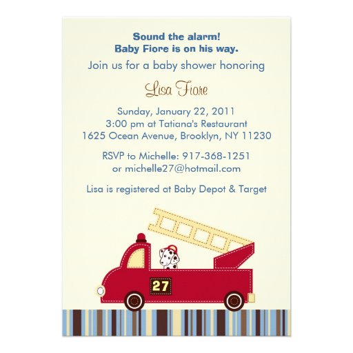 Personalized fire truck baby shower invitations engine 27 fire truck puppy baby shower invitations filmwisefo
