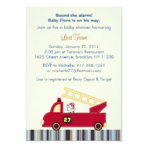 Engine 27 Fire Truck Puppy Baby Shower Invitations
