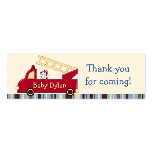 Engine 27 Fire Truck Puppy Favor Gift Tags Business Card Templates
