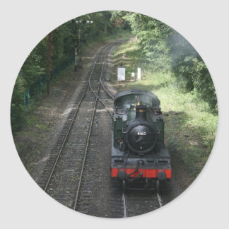 Engine approaching Bishops Lydeard station Classic Round Sticker