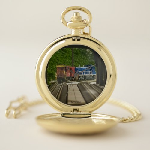 Engine & Caboose at E. Pittsburgh Pocketwatch Pocket Watch