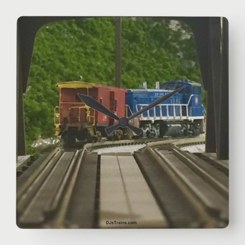 Engine & Caboose on Truss Bridge at E. Pgh Clock
