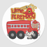 Engine Little Fireman African American Tshirts Classic Round Sticker