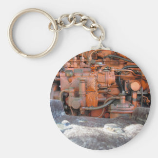 Engine of old italian crawler tractor basic round button keychain