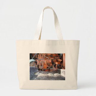 Engine of old italian crawler tractor large tote bag