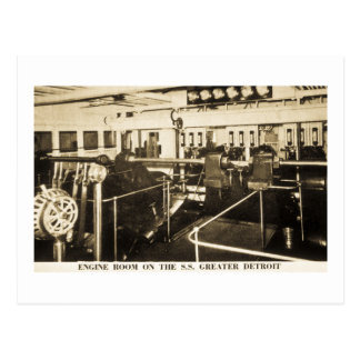 Engine Room on the S S Greater Detroit - D C Line Post Cards