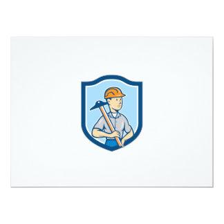 Engineer Architect T-Square Shield Cartoon 17 Cm X 22 Cm Invitation Card