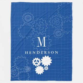 Engineer Blueprint Style Custom Monogram Adult Fleece Blanket