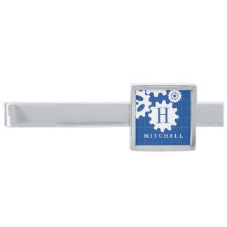 Engineer Blueprint Style Custom Monogram | Name Silver Finish Tie Bar