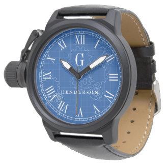 Engineer Blueprint Style Custom Monogram | Name Wrist Watch