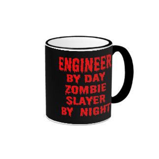 Engineer by Day Zombie Slayer by Night in Red Coffee Mug
