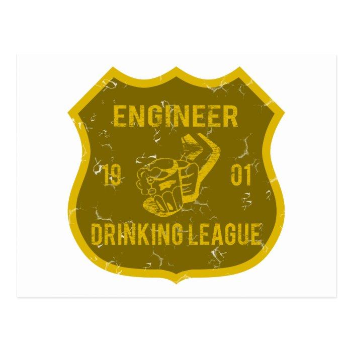 Engineer Drinking League Postcard