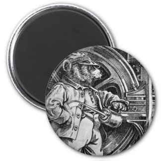 Engineer Eddy - Letter E - Vintage Teddy Bear 2 Inch Round Magnet