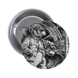 Engineer Eddy - Letter E - Vintage Teddy Bear Pinback Button