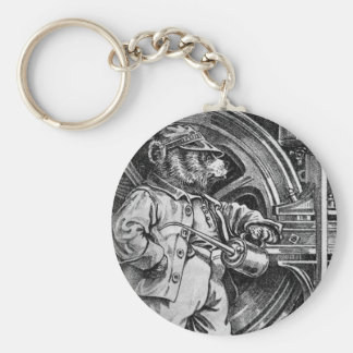 Engineer Eddy - Letter E - Vintage Teddy Bear Keychain