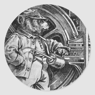 Engineer Eddy - Letter E - Vintage Teddy Bear Round Sticker