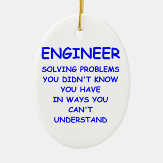 engineer engineering Double-Sided oval ceramic christmas ornament