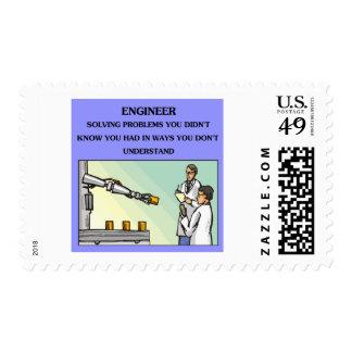 engineer engineering joke postage stamp