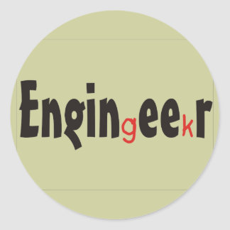 """Engineer """"Geek"""" funny gifts Classic Round Sticker"""