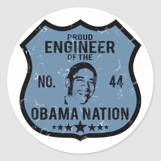 Engineer Obama Nation Classic Round Sticker