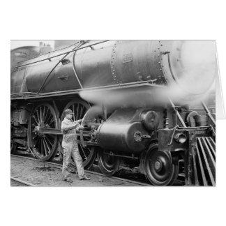 Engineer Oiling Locomotive, 1904 Card