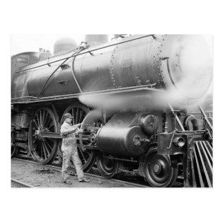 Engineer Oiling Locomotive, 1904 Postcard