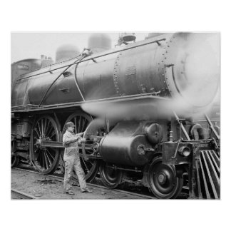 Engineer Oiling Locomotive, 1904. Vintage Photo Poster