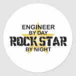 Engineer Rock Star by Night Classic Round Sticker