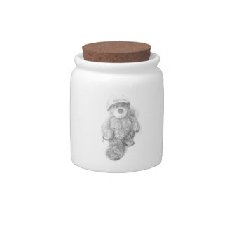 Engineer Teddy Bear Sketch Candy Jar