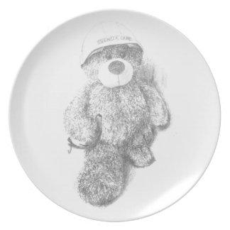 Engineer Teddy Bear Sketch Melamine Plate