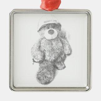 Engineer Teddy Bear Sketch Metal Ornament