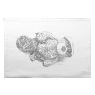 Engineer Teddy Bear Sketch Placemats