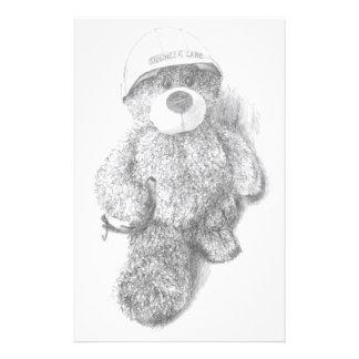 Engineer Teddy Bear Sketch Stationery
