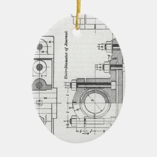 Engineering Blueprint Machinery Vintage Ceramic Ornament