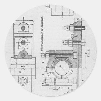 Engineering Blueprint Machinery Vintage Classic Round Sticker