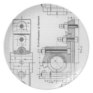 Blueprint plates zazzle engineering blueprint machinery vintage melamine plate malvernweather Image collections