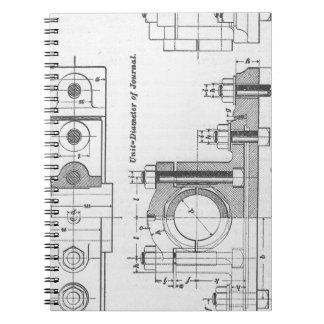 Blueprints notebooks journals zazzle engineering blueprint machinery vintage notebook malvernweather Image collections